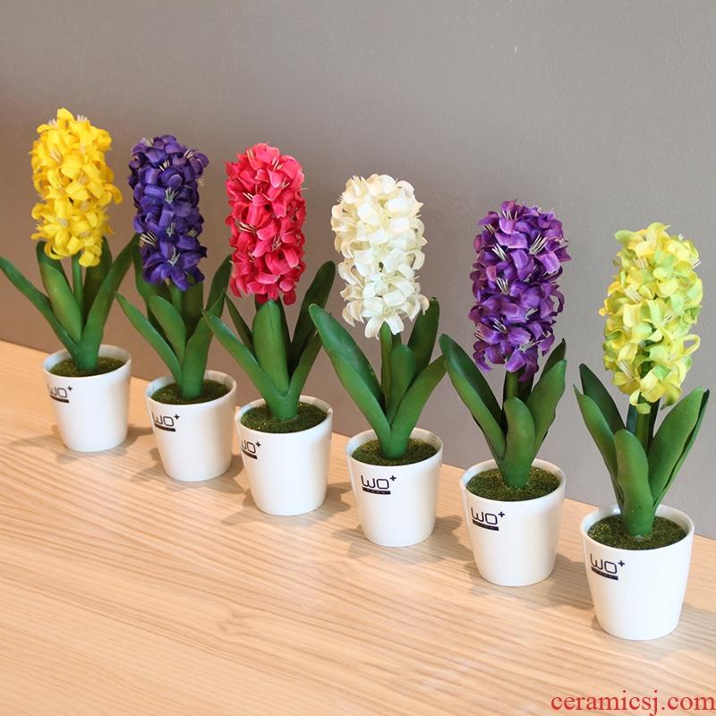 The Send + simulation flowers, ceramic vase with false hyacinth furnishing articles suit home decoration decorative bonsai pot