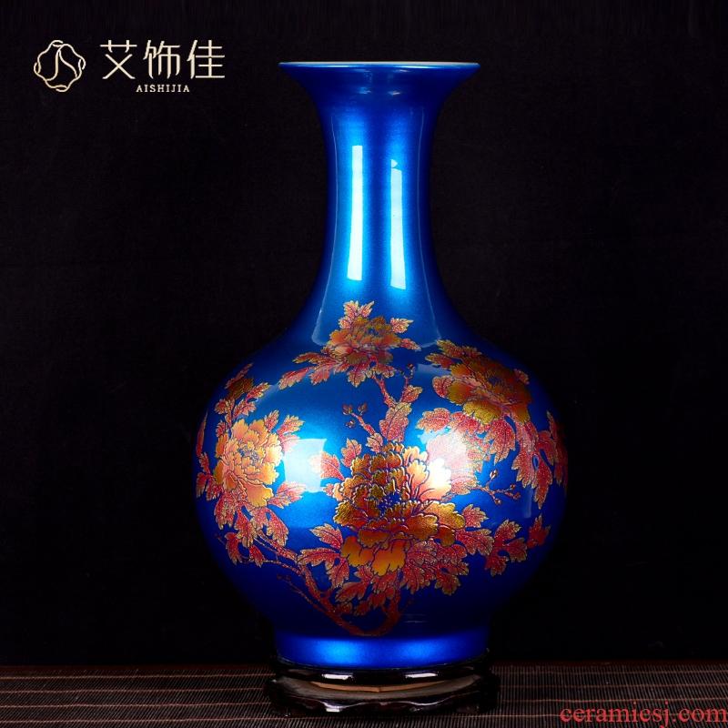 Jingdezhen ceramics vase furnishing articles crystal glaze peony flower arranging new sitting room of Chinese style household decorative arts and crafts