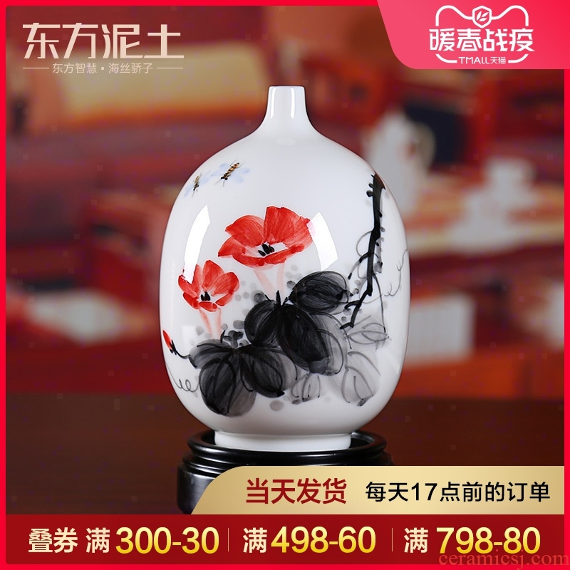 Oriental soil dehua white porcelain hand - made ceramic porcelain vase furnishing articles crafts rich ancient frame sitting room adornment