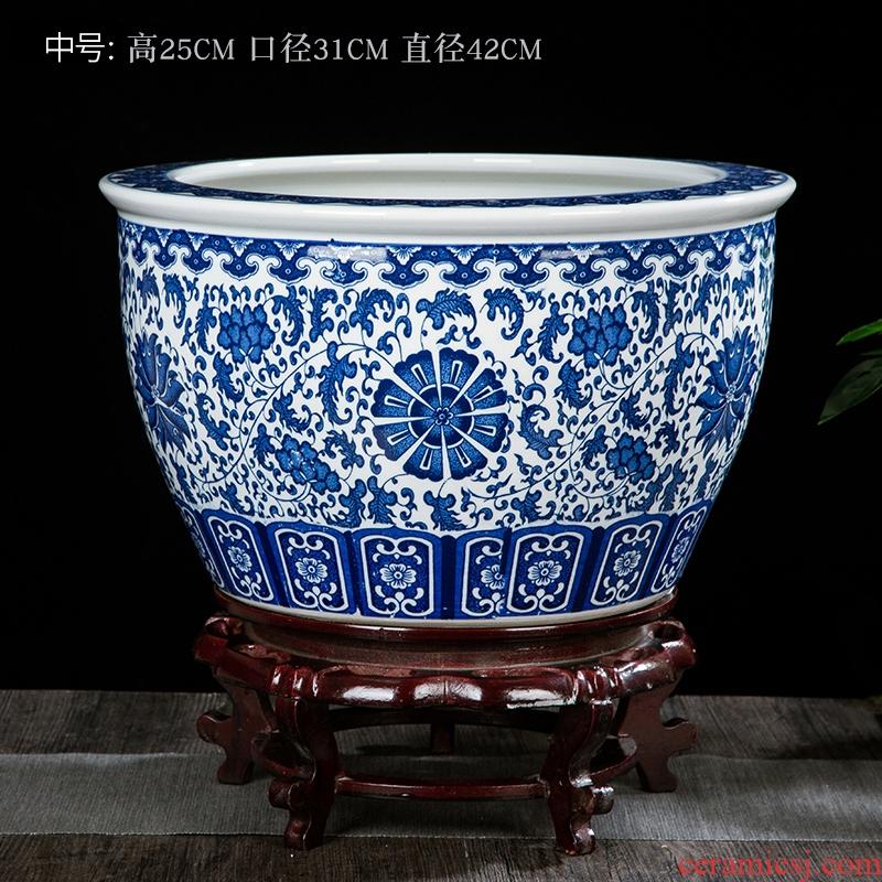 Blue and white porcelain jar of jingdezhen ceramics ceramic aquarium tank big lotus lotus cylinder landing fish tank feng shui furnishing articles