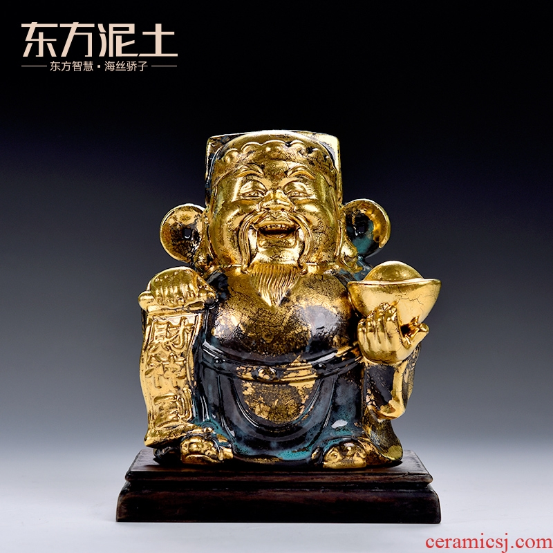 Oriental wealth clay ceramic furnishing articles feng shui plutus company wealth, Buddha office opening gifts