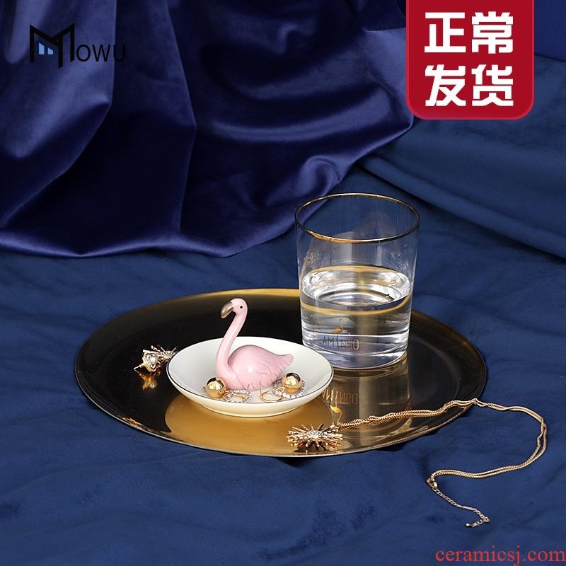 The Nordic cactus ceramic jewelry set jewelry wearing golden rabbit flamingos desktop porch key receive furnishing articles