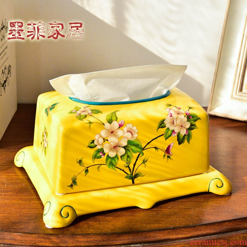 New Chinese style ceramic tissue box household American take creative living room table paper carton tea table smoke box decorative furnishing articles