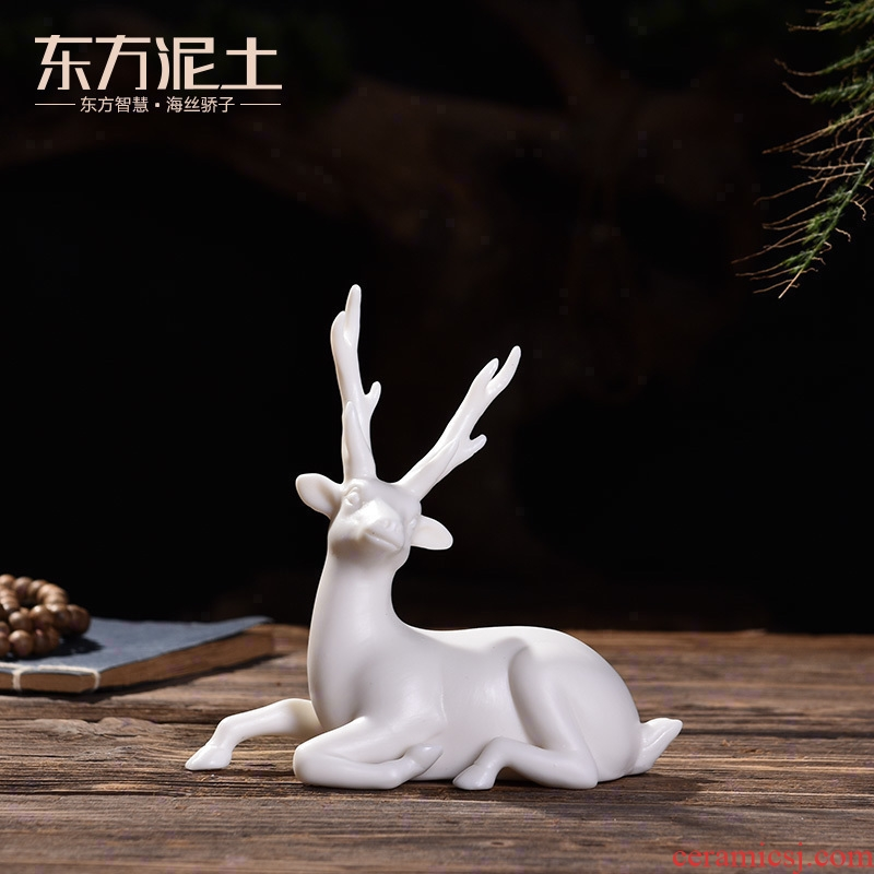 Oriental clay ceramic its art furnishing articles/a car interior & other; Deer & throughout; Peace D50-201