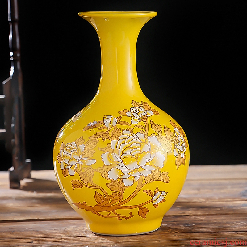 Chinese red peony vases, flower arranging Chinese jingdezhen ceramics sitting room adornment porcelain furnishing articles wedding gift