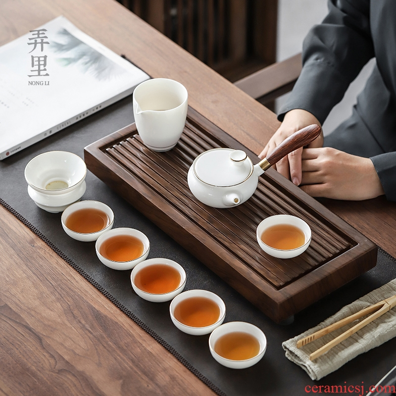 The Get | Japanese kung fu tea set in white porcelain ceramic sharply Shi Gan plate tea table contracted home office