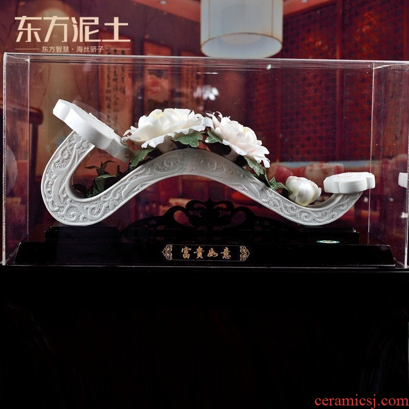 The east mud dehua white porcelain business gifts Chinese style living room porch new home decoration furnishing articles/prosperous fortunes