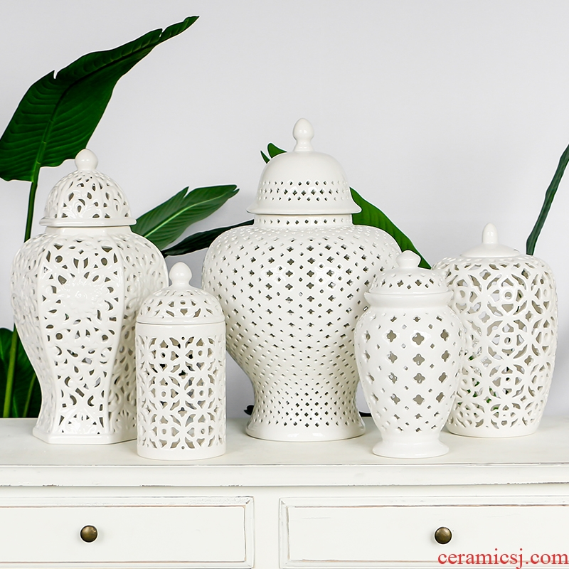 The Nordic white hollow out The general series ceramic pot furnishing articles creative I and contracted household decorate The living room decoration