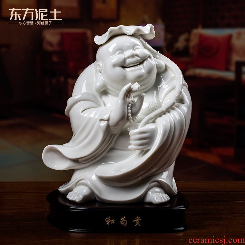 Oriental clay ceramic smiling Buddha maitreya furnishing articles dehua white porcelain home sitting room adornment handicraft/harmony