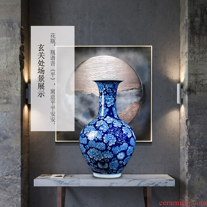 Jingdezhen ceramics vase furnishing articles antique Chinese blue and white porcelain vase sitting room porch decorate household furnishing articles