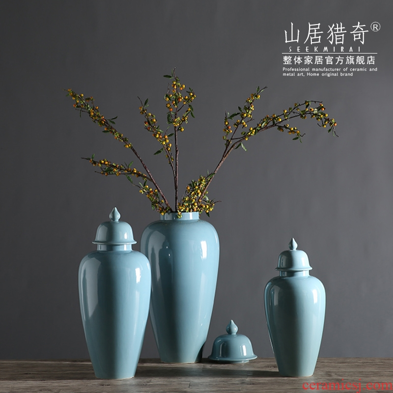 Modern creative household ceramics handicraft decoration can of new Chinese style wine sitting room adornment is placed on the general tank