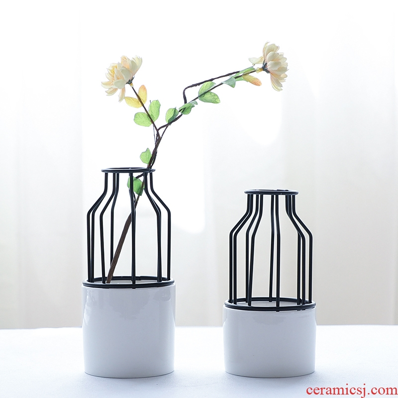 Nan sheng household act the role ofing is tasted ceramic furnishing articles, wrought iron simulation flower, dried flower vases, flower implement mesa adornment hydroponic really flowers