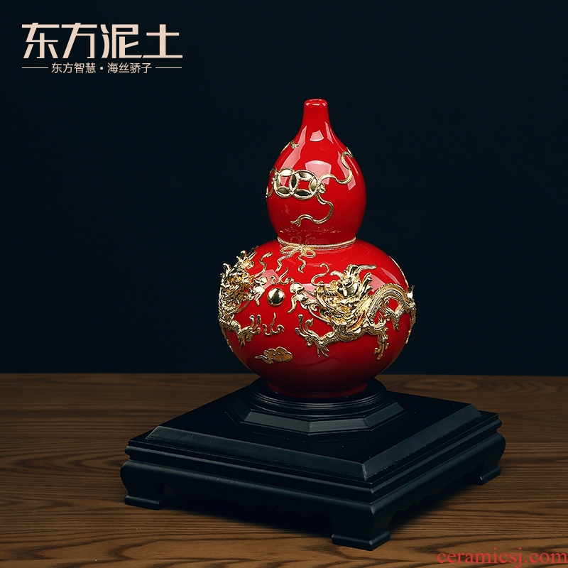 Oriental clay ceramic bottle gourd furnishing articles paint line carve handicraft version into gifts key-2 luxury/blessing