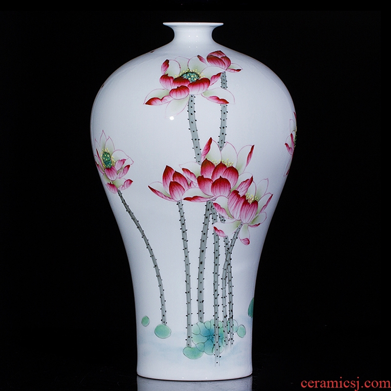 Jingdezhen porcelain hand - made ceramic vase furnishing articles for flower arranging lotus years living room TV cabinet decoration decoration