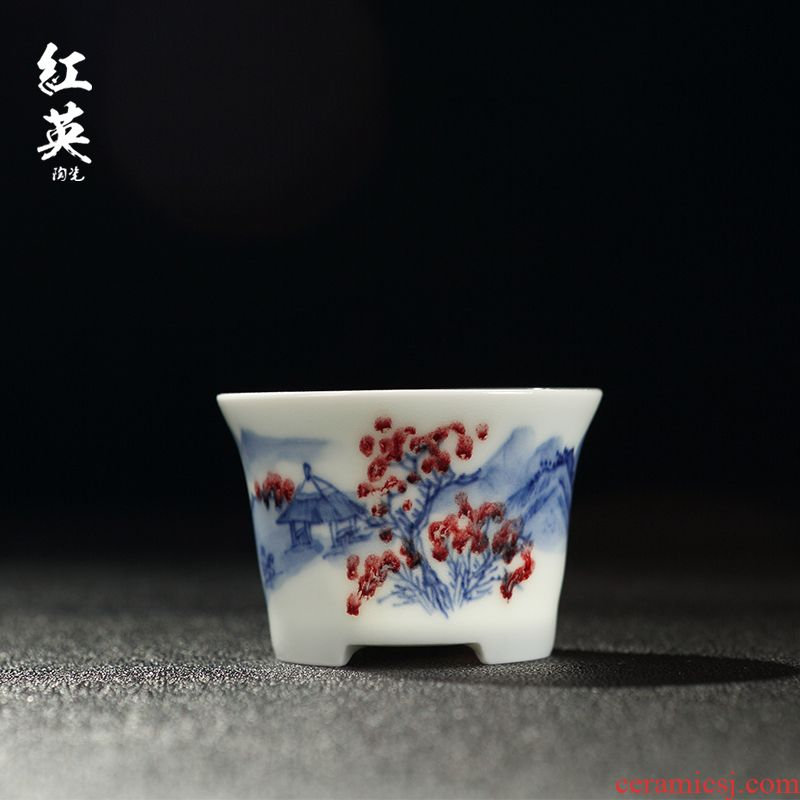 Hongying ceramics jingdezhen porcelain youligong kung fu tea set master cup single CPU hand - made thin foetus sample tea cup