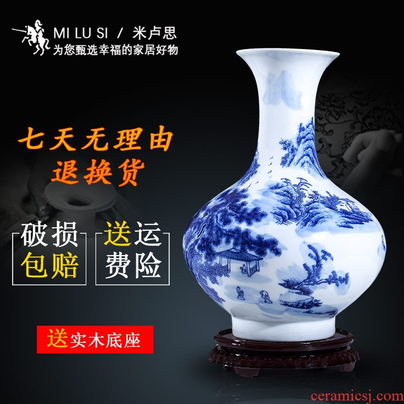 Jingdezhen ceramics furnishing articles sitting room flower vase hand - made scenery of TV ark, adornment of Chinese style household furnishing articles