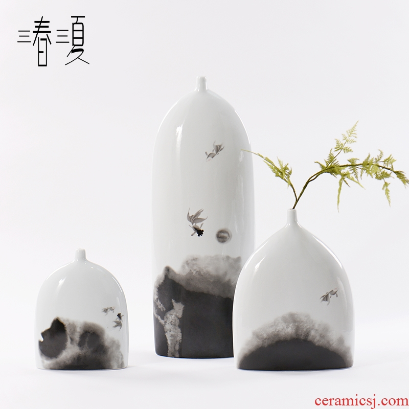 New Chinese style table zen hotel dry flower vase furnishing articles sitting room porch for Japanese flower exchanger with the ceramics sector