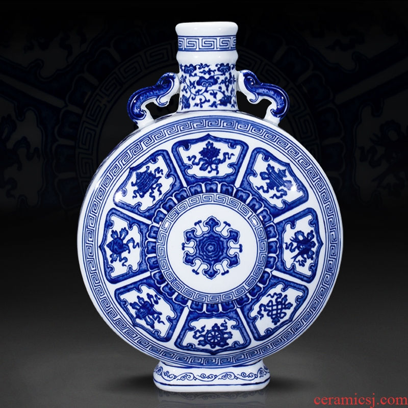 Jingdezhen ceramic furnishing articles hand - made antique porcelain vases, new Chinese style household living room TV ark adornment arranging flowers