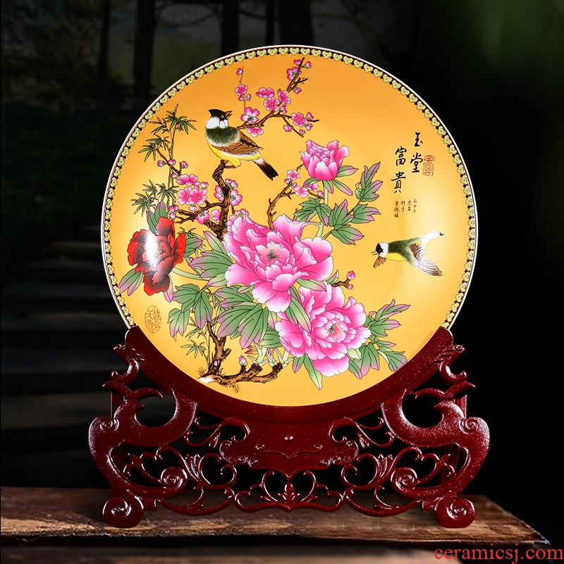 Jingdezhen ceramic famille rose decoration plate sit plate plate furnishing articles sitting room porch TV ark, of Chinese style household crafts