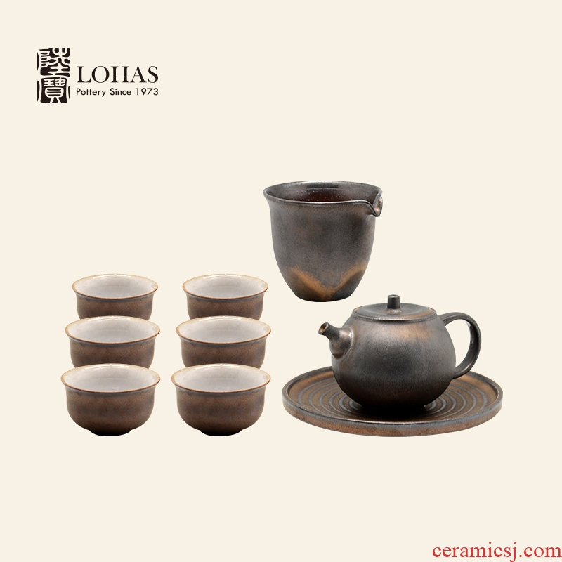 Lupao ceramic tea set undressed ore TaoYan sect meditation variable glaze a pot of'm gold six glasses with pot bearing