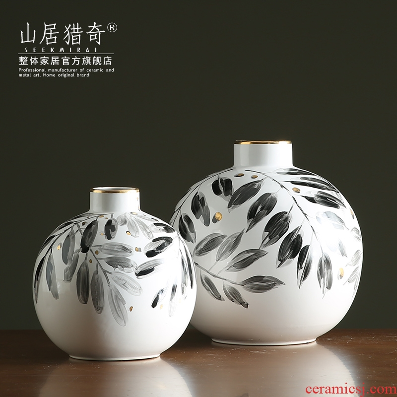 Hand - made ceramic vase furnishing articles leaves the Nordic contracted home sitting room art flower arranging flowers, small ball bottle expressions using