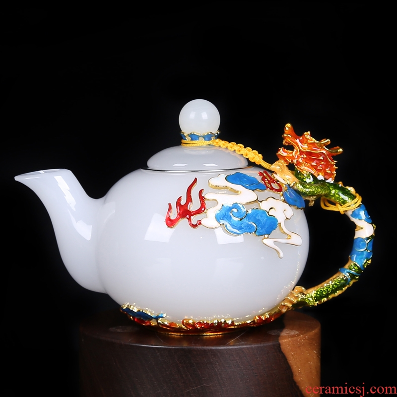 Coloured glaze jade colored enamel porcelain single pot tea cup to filter the teapot household heat - resistant glass tea set, small single pot pot by hand