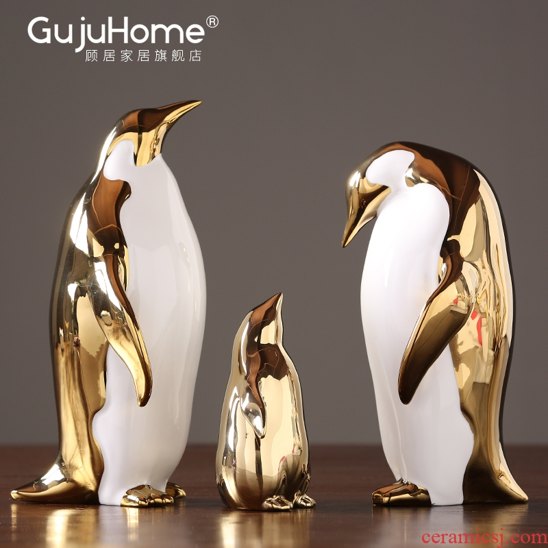 Boreal Europe style gold furnishing articles household ceramics penguins living room TV ark, wine cabinet office decoration