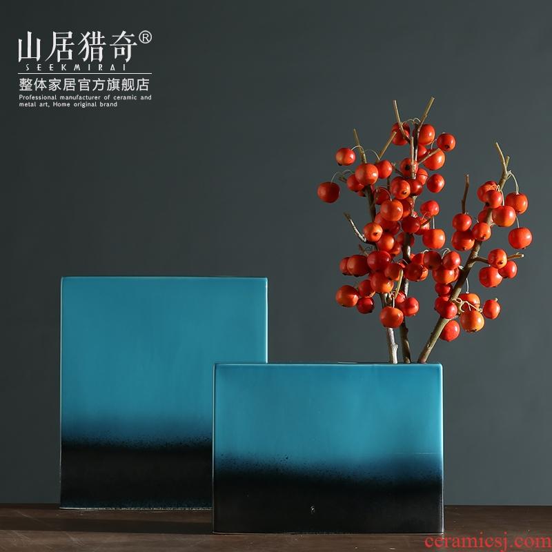 Mediterranean ceramic vase furnishing articles I sitting room dry flower, flower implement blue flat soft adornment box flower vase