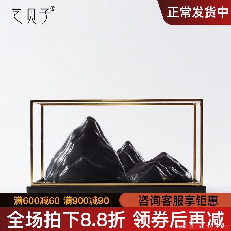 New Chinese style example room mountain furnishing articles ceramic rockery creative soft outfit decoration TV ark, zen porch decoration
