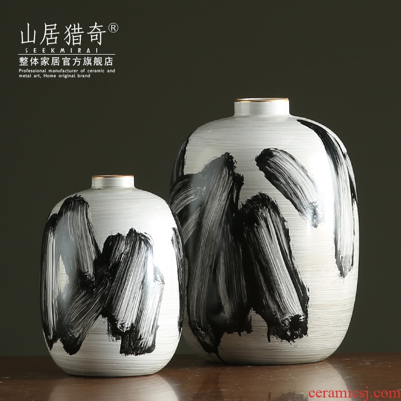American hand - made goldfish pottery vases, flower arranging flowers exchanger with the ceramics of new Chinese style living room TV ark adornment furnishing articles