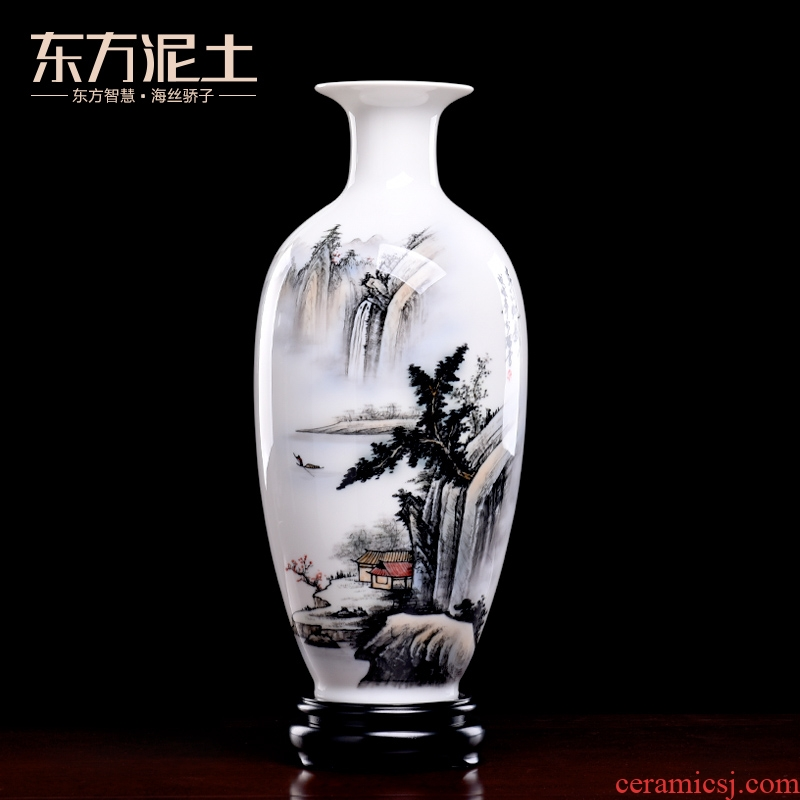 Oriental soil hand - made ceramics vase furnishing articles of new Chinese style living room TV cabinet/Chinese bottle ornament