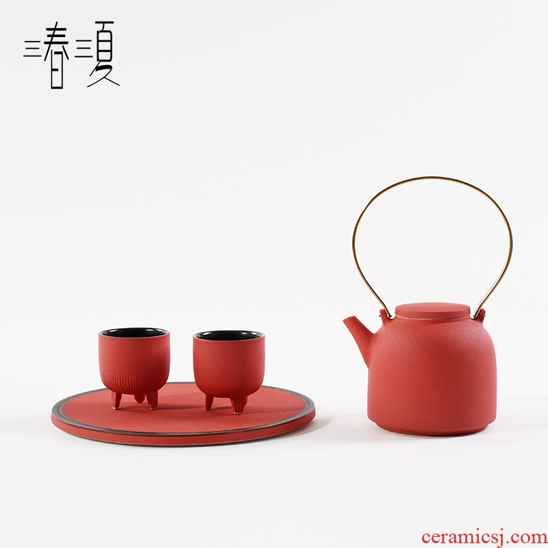 New Chinese style example room sitting room tea table tea sets tea table red ceramic teapot teacup combination furnishing articles