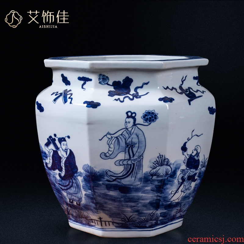 Jingdezhen ceramics tank large antique calligraphy and painting scroll cylinder figure of the eight immortals blue - and - white decoration home furnishing articles in the living room