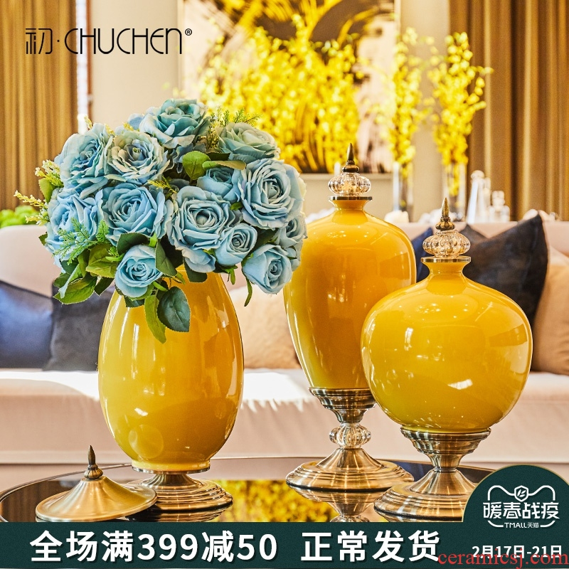 American large vases, ceramic flower arranging dried flower furnishing articles table sitting room European - style example room home TV ark, adornment