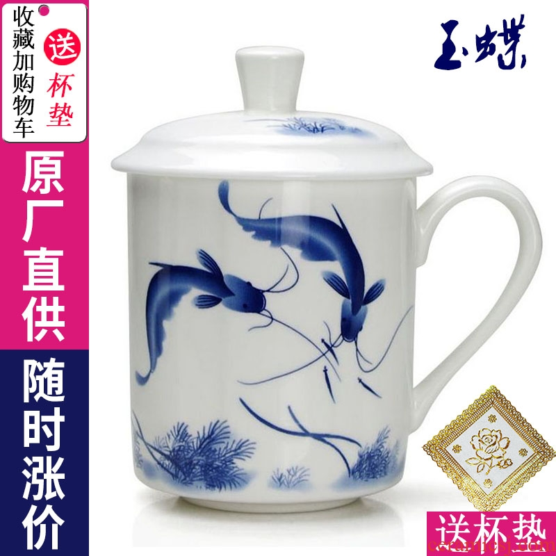Jingdezhen ceramic cups with cover household ipads China mugs office personal cup custom of blue and white porcelain cup