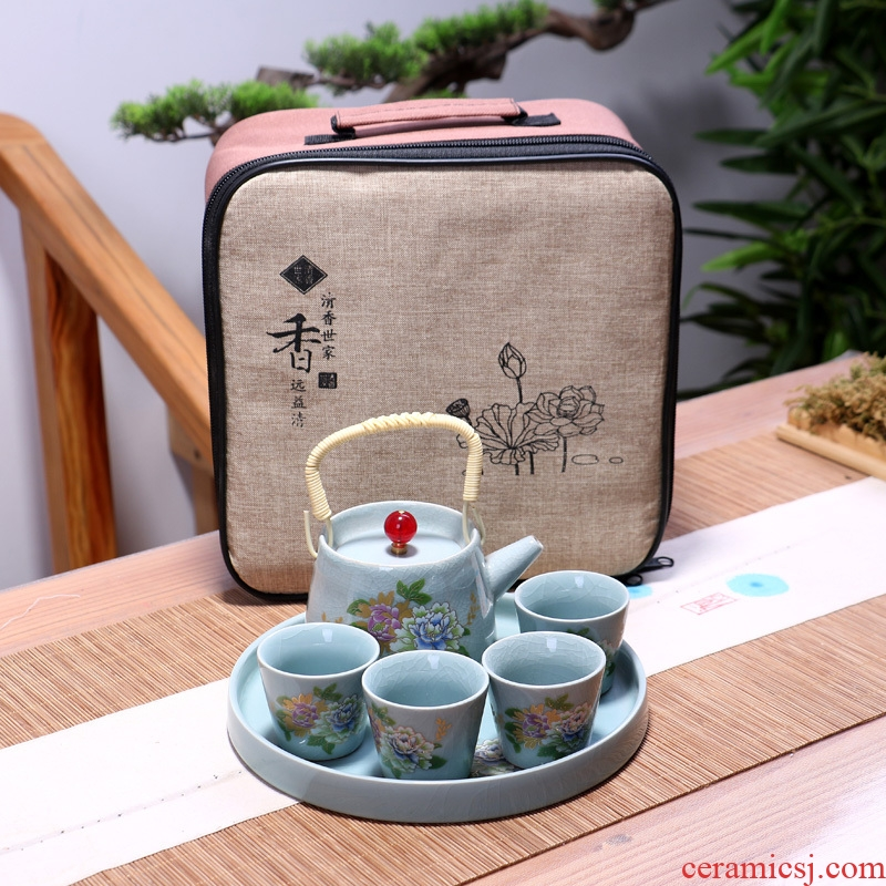 Elder brother up kung fu tea set is suing travel tea set piece of girder teapot teacup office household ceramic tea tray