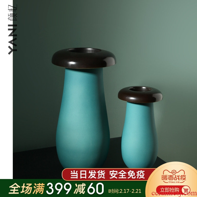 The Nordic idea geometric mushroom ceramic vase furnishing articles between example reveals ark, creative home sitting room adornment flowers