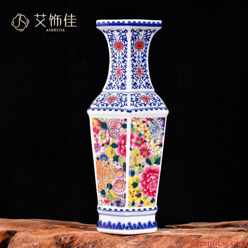 Jingdezhen ceramics flower bloom flower arranging decorative vase Chinese style living room TV cabinet porch handicraft furnishing articles