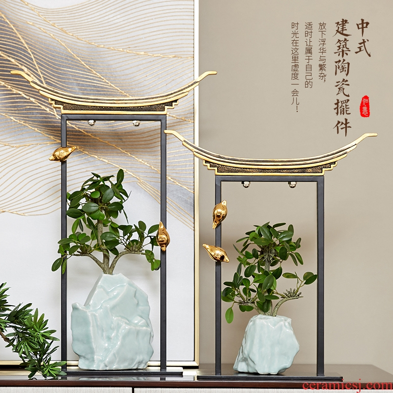 New Chinese style building furnishing articles ceramic green plant vase sitting room household soft outfit zen adorn article study edge ark, handicraft