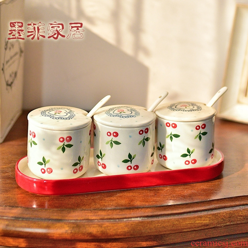 Ceramic flavor pot furnishing articles sauce seasoning box of kitchen home decoration household salt shaker set decoration