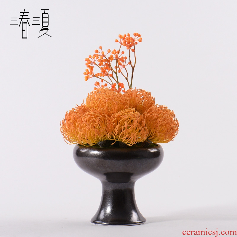 Orange simulation floral fireworks modern new Chinese style living room porch Daisy potted flower hotel landscape ceramic landscape furnishing articles