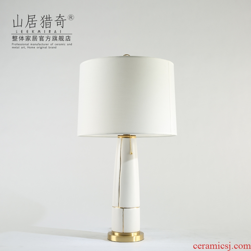 I and contracted white ceramic desk lamp light Chinese key-2 luxury designer hotel sitting room decorate desk lamp of bedroom the head of a bed