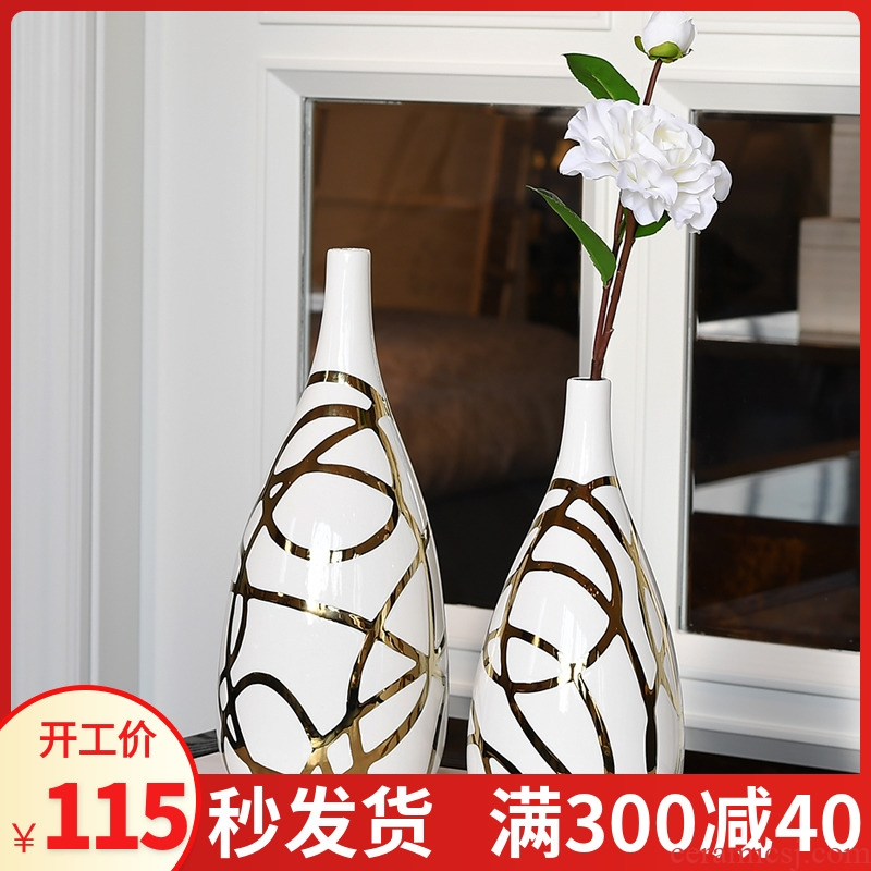 Contracted and I ceramic creative Nordic interior decoration, sitting room dry flower is placed flowers flower vase
