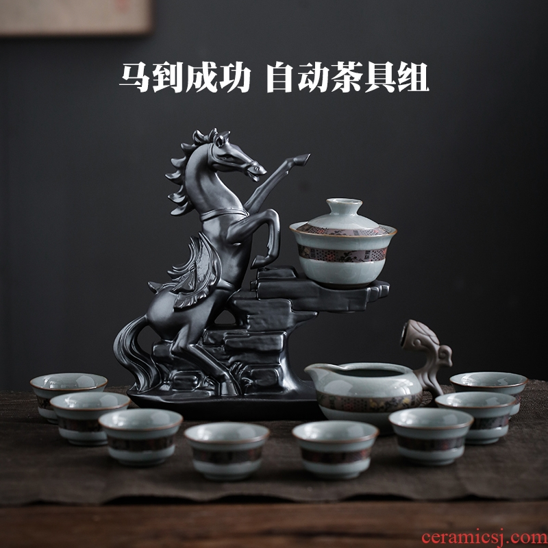 Ceramic up kung fu tea set suit household elder brother up built lamp that lazy automatic tea to prevent hot the whole teapot