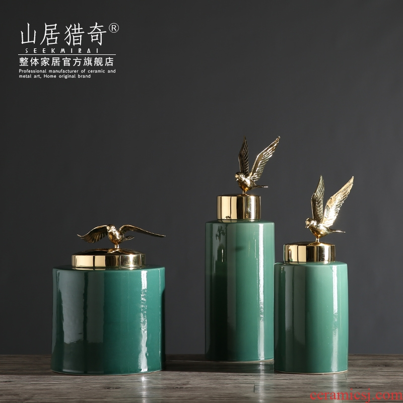 French household act the role ofing is tasted, the sitting room TV ark, home furnishing articles copper bird straight cover pot with ceramic decoration