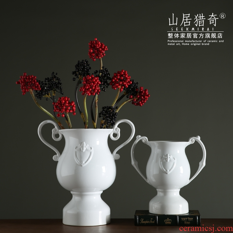 Example room sitting room creative flower arranging device ou shifang decorative vase trophy type restoring ancient ways ears old ceramic vase