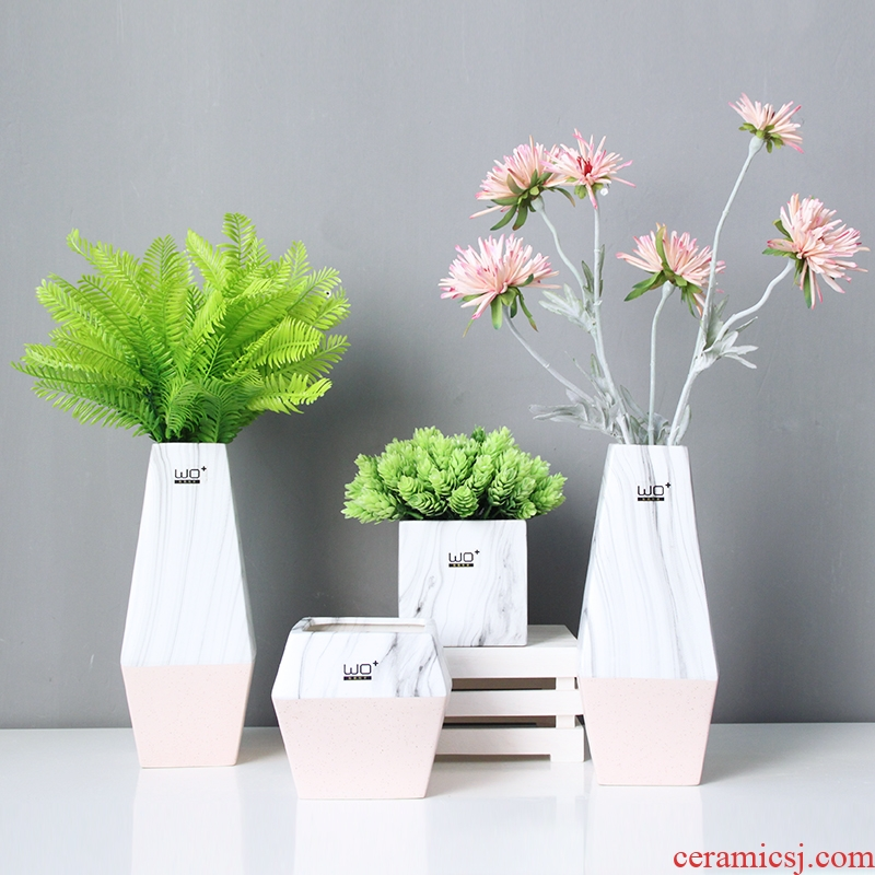 The Send + computer decorative furnishing articles household act the role ofing is tasted creative move pink ceramic marble vase flowerpot