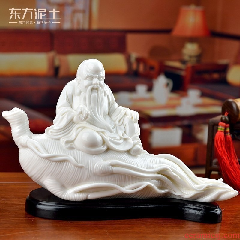 Oriental white marble earth ceramic white porcelain maitreya household birthday gift/happy life longevity D01-019 - b