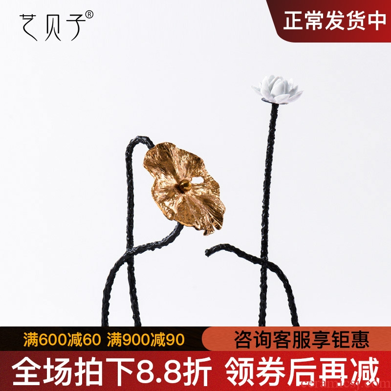 New Chinese style TV ark, zen furnishing articles example room copper soft adornment sitting room porch decoration porcelain lotus lotus leaf