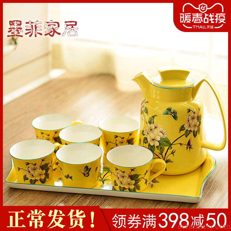 American ceramic tea set new Chinese style restaurant sitting room cool afternoon tea coffee kettle teapot tea table furnishing articles
